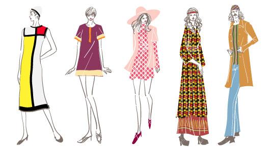 六十年代モードやヒッピーなどの60\u0027sファッションのイラスト
