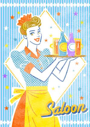 Eatery欧米の食べ物や飲食店のイラスト Sparkleアメリカンレトロ