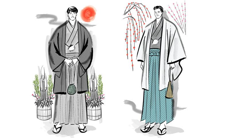着物姿のメンズファッションイラスト 24 7 Scene World Kimono