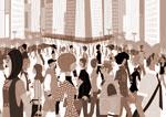 太中トシヤのオリジナルイラスト/おしゃれをして街を行き交う人々